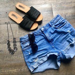 Zara light wash high rise jean shorts